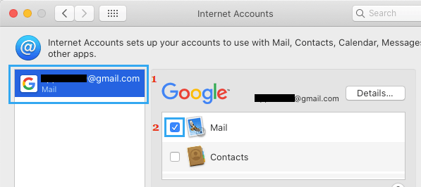 Enable Email Account on Mac