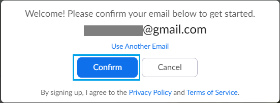 Confirm Email Prompt in Zoom