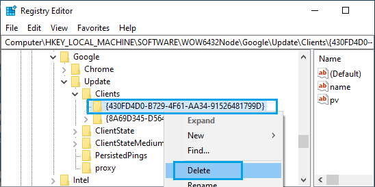 Delete Chrome Clients Registry From Windows PC