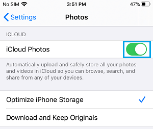 Enable iCloud Photos on iPhone