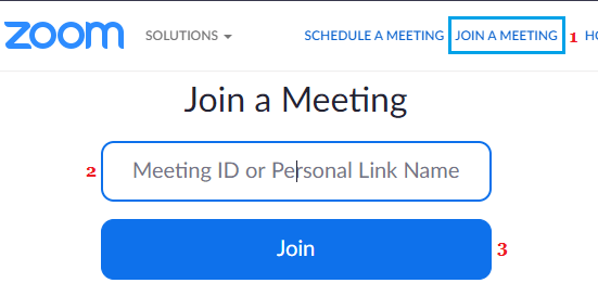 Join Meeting Option in Zoom