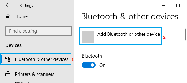 Add Bluetooth Device Option in Windows 10