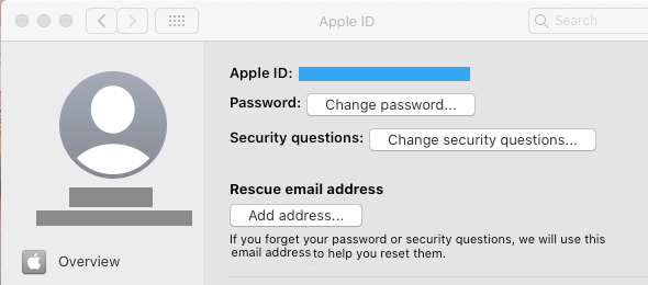 Change Password Option on Mac