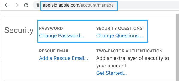 Change Password Option on Apple ID Web Page