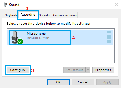 Configure Microphone Option in Windows