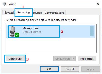 Configure Microphone Option in Windows