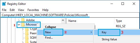 Create New Key in Microsoft Folder Using Registry Editor