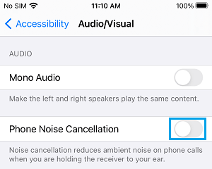 Disable Noise Cancellation on iPhone
