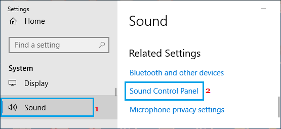 Open Sound Control Panel Option in Windows