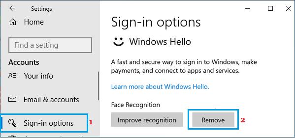 Remove Face Recognition in Windows Hello