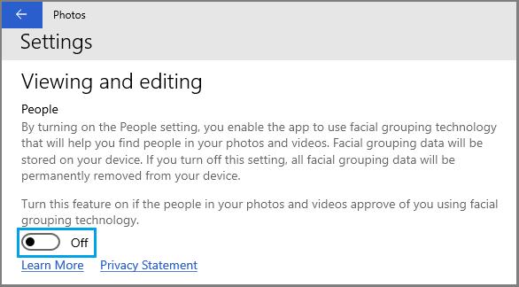 Disable Face Detection in Windows Photos App