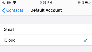 Select Default Account For Contacts on iPhone