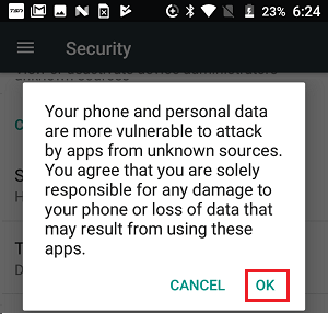 Unknown Sources Warning on Android