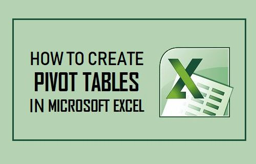 Create Pivot Table in Excel