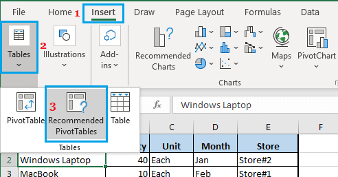 Insert Recommended Pivot Table in Excel