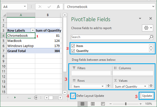 Modify Pivot Table Using PivotTable Fields