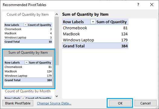 Select Recommended Pivot Table in Excel