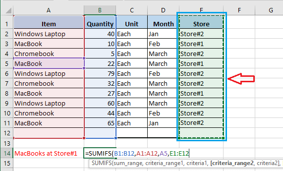 Select Criteria Range2 In Excel SUMIFS Function