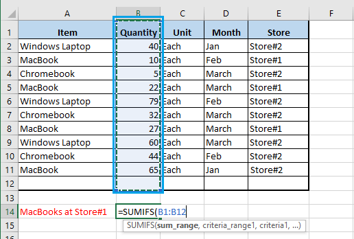 Select Sum Range in Excel SUMIFS Function