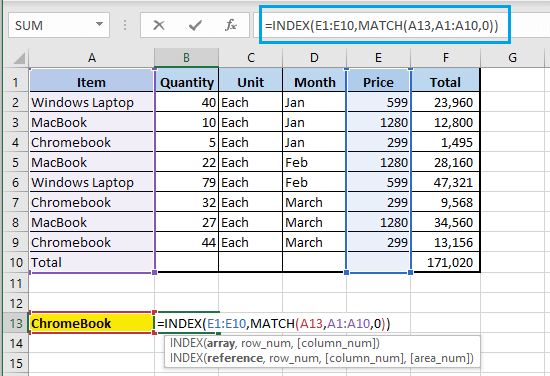 Complete INDEX MATCH Function in Excel