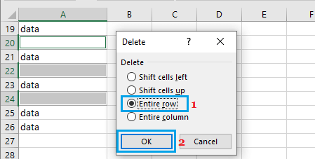 Delete Entire Row in Excel