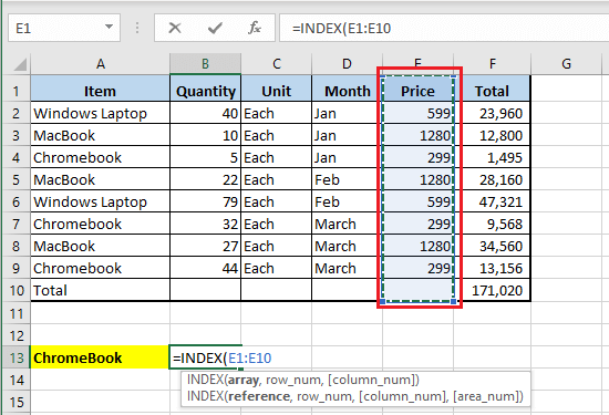 Select Array For INDEX Function in Excel