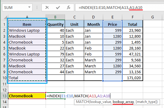 Enter MATCH Function Lookup Array