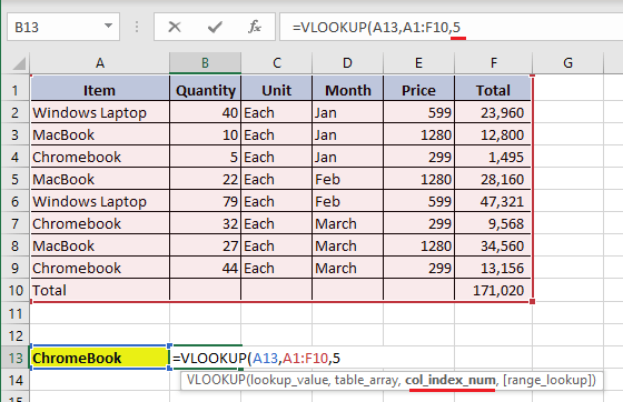 Enter Column Index Number in VLOOKUP Function