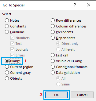 Go to Special Options in Excel