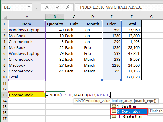 Select Match Type in Excel MATCH Function