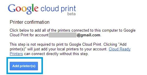 Google Cloud Print - Printer Confirmation