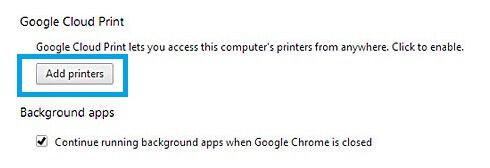Add Printers Option Under Google Cloud Print Section