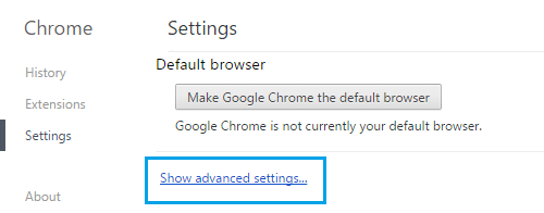Chrome Browser Advanced Settings Link