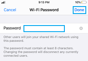 Change Personal Hotspot Password on iPhone