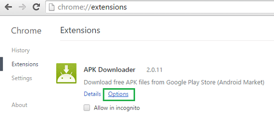 chrome-apk-options
