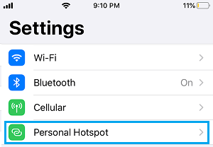 Personal Hotspot Settings Option on iPhone