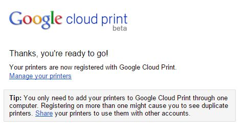 Printer Registered With Google Confirmation Message