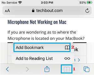 Add Webpage to Bookmark on iPhone Safari Browser