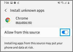 Allow Chrome to Install Unknown Apps on Samsung Android Phone