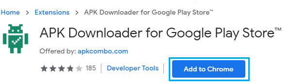Add APK Downloader for Google Play Store to Chrome