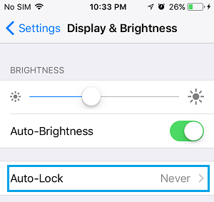 Auto Lock Settings Option on iPhone
