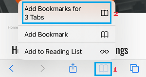 Bookmark Multiple Webpages on iPhone Safari Browser