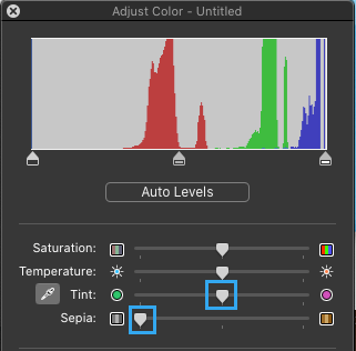Color Adjust Screen in Preview App on Mac