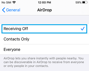 Disable AirDrop on iPhone
