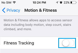 Disable Fitness Tracking Option on iPhone