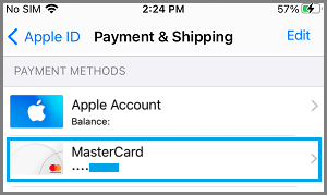 Listed Payment Methods on iPhone