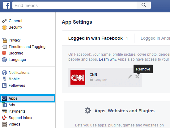 Unlink Other Social Media Accounts and Apps from Facebook