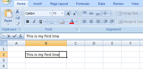 First Line in Excel Cell