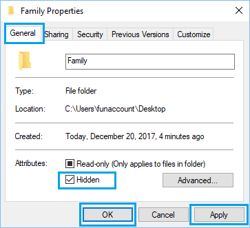 Hide Files Using File Properties Option in Windows 10