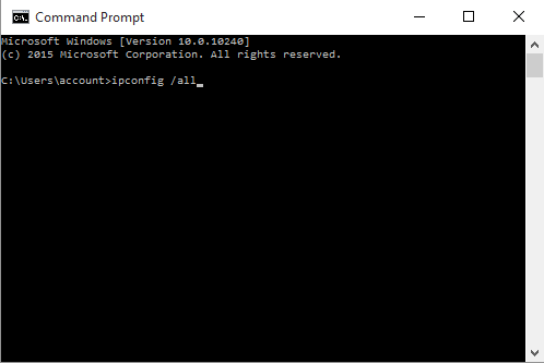 Windows ipconfig/all Command